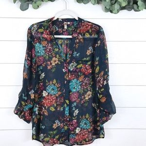 Kut From The Kloth • Navy Floral Chiffon Blouse